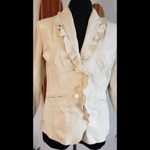 Leather Jacket Ruffle Neck & Sleeves LARGE NWOT